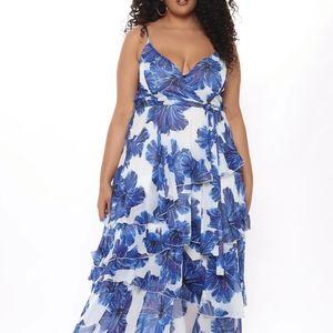 Fashionnova blue and white maxi